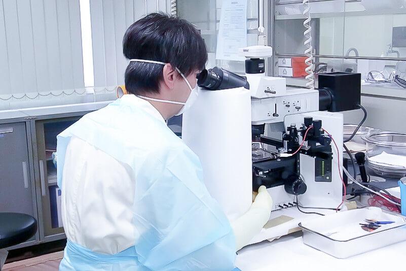 光学顕微鏡観察下での試験片仕上
