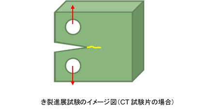 疲労き裂進展試験(疲労き裂伝ぱ試験)の負荷イメージ図